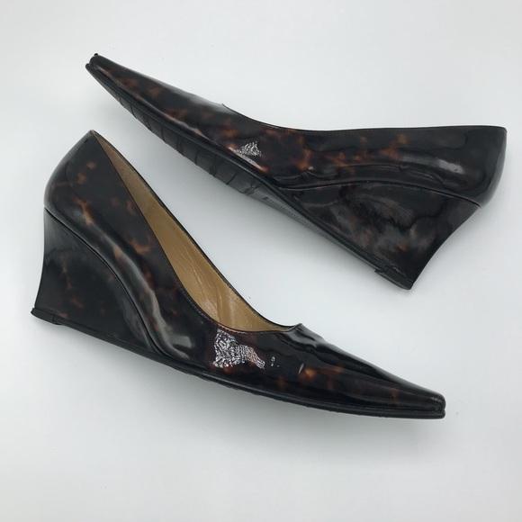 a52272179b86e Stuart Weitzman Shoes | Patent Leather Tortoise Wedge Heel | Poshmark